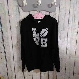 """ L O V E"" Football ' Screen Printed Jersey Hoodie"